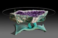 Amethyst Table, designed by Crystal Works (http://shop.lawrencestoller.com/Custom-Geode-Tables-c19/)