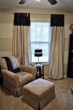 drop cloth curtains, horizontal striped walls