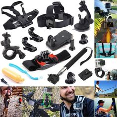 Gopro Accessories 14in1 Kit Wrist Chest Head Strap Mount Floating Grip Clip Clamp Telescopic Monopod for Gppro Hero 4 3 2 SJ40 #Affiliate