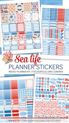 Beautiful nautical inspired printable planner stickers kit for Erin Condren LifePlanner Vertical. This gorgeous kit includes free cut files for Silhouette and Cricut PNG. Click to see this item in my shop.