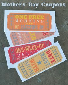 Give printable coupons for Mother's Day! Cute gift from kids!