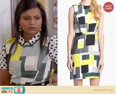 Mindy's geometric print dress on The Mindy Project. Outfit Details: http://wornontv.net/22784 #TheMindyProject #KateSpade