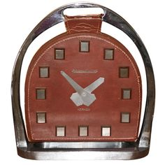 JAEGER LeCOULTRE for HERMES Stirrup Equestrian Clock c.1940s | From a unique collection of vintage desk accessories at https://www.1stdibs.com/jewelry/objets-dart-vertu/desk-accessories/