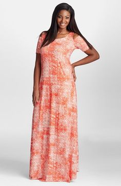 Mynt 1792 Print Cold Shoulder Crepe Maxi Dress (Plus Size) available at #Nordstrom