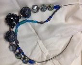 Glitzy. Midnight blue cluster bead. Double strand necklace with glass beads.