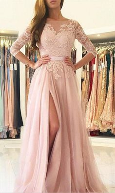 Blush Pink Illusion Long Sleeve Prom Dress,Chiffon Lace #prom #promdress #dress #eveningdress #evening #fashion #love #shopping #art #dress #women #mermaid #SEXY #SexyGirl #PromDresses