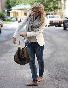 Cream blazer, jeans, gray scarf