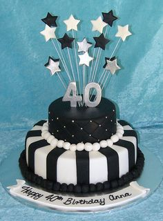 Black and White 40th | this is a 6 inch round and a 10 inch … | Flickr