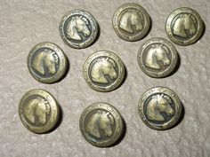 Antique Brass Look Horse Head Buttons set of 6 Pieces Rare Custom Made by Horsetrader21 on Etsy https://www.etsy.com/listing/90566096/antique-brass-look-horse-head-buttons