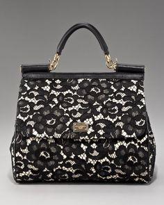 Dolce & Gabbana Black Miss Sicily Lace Handbag
