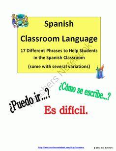 Spanish Classroom Language - Lenguaje del Aula product from Sue-Summers on TeachersNotebook.com