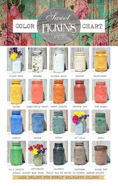 Sweet Pickins Milk Paint Colors Sausha shares how to paint mason jars with Sweet Pickins Milk Paint. Milk Paint Furniture, Painted Furniture, Furniture Repair, Furniture Makeover, Furniture Ideas, Furniture Design, Paint Color Chart, Paint Colors, Colour Chart