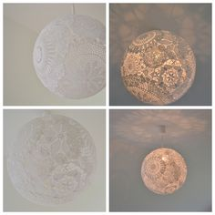 Lamp made from lace doilies. Paper mache or wallpaper glue them over a round balloon or ball, dry, pop then hang over pendant light!