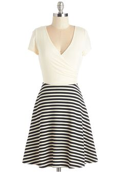 Botanical Breakfast Dress in Black Stripes. Whether you decide on blueberry oatmeal or waffles at the gardens cafe, you already made a stylish choice in this ivory and black dress. #gold #prom #modcloth