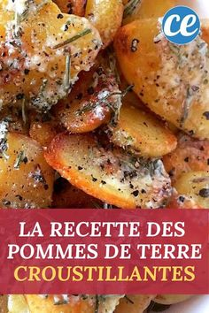 The Recipe for Crispy Potatoes with Garlic and Rosemary. Mmm too good ! - The easy and inexpensive recipe for sautéed potatoes with garlic and rosemary. High Protein Meal Prep, High Protein Recipes, Healthy Meal Prep, Healthy Foods To Eat, Healthy Snacks, Healthy Recipes, Inexpensive Meals, Easy Meals, Crispy Potatoes