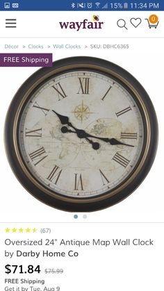check out the decor therapy global antique map clock