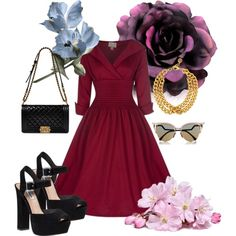 50's flower by chrichri on Polyvore featuring Steve Madden, Chanel, Ben-Amun and Fendi
