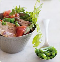 Duck breast with plum sauce and diced green beans