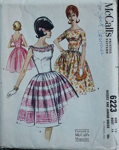 McCall 6223 1960s 60s Full Skirt Cocktail by EleanorMeriwether