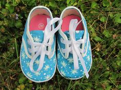 Baby Girl  Snowflake Shoes, Customized Infant And Toddler Blue Aqua Lace Up Canvas Shoes With White Snowflakes  in Size 2 W Toddler! by UGOTMYFINGERPRINTS on Etsy