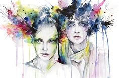 Video by Agnes Cecile Beautiful Speed painting by a truly talented artist. Artist material and Painting time: Watercolor, pencil, pen, and ink on wa Watercolor Portraits, Watercolor And Ink, Watercolor Paintings, Watercolors, Watercolor Splatter, Abstract Watercolor, Agnes Cecile, L'art Du Portrait, Art Aquarelle