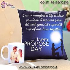 Personalised Mug & Propose Day Cushion ( Valentine Romantic Gift ) Valentines Day Gifts Boyfriends, Boyfriend Gifts, Valentine Day Gifts, Happy Propose Day, Personalized Mugs, Romantic Gifts, Proposal, Valentino, Roses
