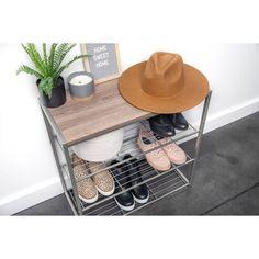 4 Tier Shoe Rack With Rustic Oak Finish Top Gray Metal - Threshold™ : Target Shoe Rack Oak, Best Shoe Rack, 4 Tier Shoe Rack, Metal Shoe Rack, Diy Shoe Rack, Boot Organization, Stackable Shelves, Shoe Basket, How To Store Shoes