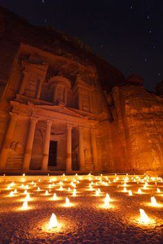 The Treasury at Petra, illuminated at night by the light of 1,800 candles