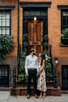 Mar 2020 - tera + tarrence / west village, new york city engagement session Formal Engagement Photos, Vintage Engagement Photos, Engagement Photo Outfits, Engagement Photo Inspiration, Engagement Couple, Engagement Session, Country Engagement, Fall Engagement, Engagement Pictures