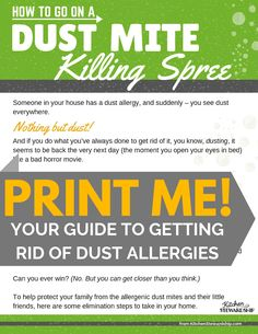 printable guide to getting rid of dust mites Clean Life, Clean House, Dust Mite Allergy, Allergy Remedies, Dust Mites, Green Cleaning, Natural Cleaning Products, Kitchen Recipes