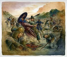 The Battle of Talas, Tang Dynasty China by Christian Jégou Military Art, Military History, Guan Yu, World Of Warriors, Early Middle Ages, Asian History, Chinese Armor, Ancient China, Historical Pictures