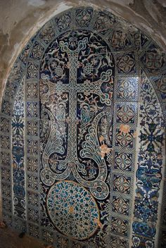 Armenian Blue Ceramic Cross-stone decorations – St. Saviour (14th c. Armenian Church) of Mount Zion in Jerusalem.