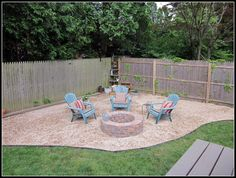 Homeroad-Building a Fire Pit... Materials: 3 yards of pea gravel 60 Paving stones 4 rolls of weed block plastic edging stakes contractor adhesive