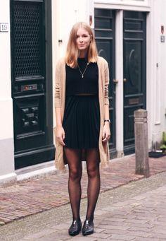 OUTFIT   Brown Cardigan khaki cardigan, black dress, black tights, black oxfords
