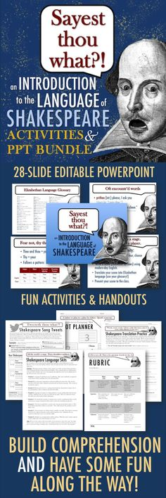 Get your students to understand, appreciate, and yes, even LOVE Shakespeare with this fully editable PowerPoint and packet of fun activities that will lay the groundwork for comprehension. Teaching Literature, Teaching Resources, Teaching Aids, Teaching Strategies, Education English, Teaching English, William Shakespeare, 9th Grade English, British Literature