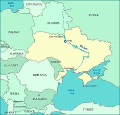 Map of Ukraine and surrounding countries.    —Ukraine map show cities, river, and Chernobyl