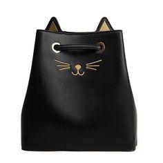 a9df83ef07 Dual-Function Cat Vegan Leather Bucket Bag Medium Women s Satchel in Silver    Black