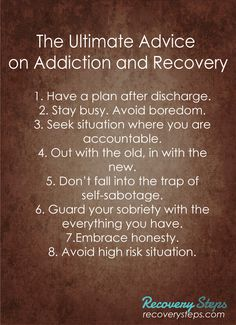 The Ultimate Advice on Addiction and Recovery  Get Treatment at recoverysteps.com CALL US: (800) 592-7837  Follow: https://www.pinterest.com/RecoverySteps/