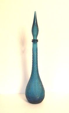 Vintage Genie Bottle Empoli D Rossini Blue Glass Decanter Blue Bottle Made in Italy - 22 Inches Tall