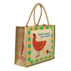 Jack Murphy Large Jute Shopping Bag in Chicken. The Jack Murphy Large Jute Shopping Bag is the perfect bag for life, strong and durable with an exclusive printed design. Jute Shopping Bags, Paper Shopping Bag, Irish Clothing, Jute Bags, Unique Bags, Outdoor Outfit, Tweed Jacket, Online Bags, Luggage Bags