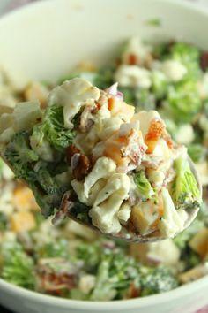 Bbq Salads, Easy Salads, Healthy Salads, Summer Salads, Healthy Recipes, Veggie Recipes, Broccoli Cauliflower Salad, Broccoli Salads, Baked Cauliflower