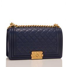6b99d0603ed57f Chanel Navy Quilted Lambskin Medium Boy Bag Navy Quilt, Luxury Handbags,  Chanel Boy Bag