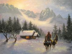 Snowy Cabin Art Print cowboys snow paintings by VickieWadeFineArt