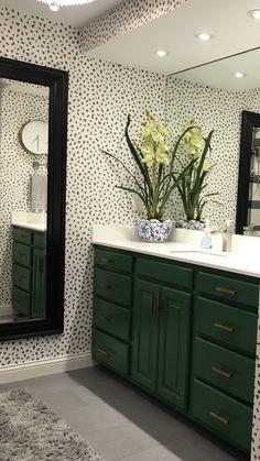 Green bathroom vanity, Thibaut's Tanzania wallpaper - Modern Bathroom Design Software, Bathroom Design Layout, Bathroom Tile Designs, Bathroom Design Small, Bathroom Interior Design, Bathroom Ideas, Powder Room Vanity, Powder Room Decor, Powder Room Design