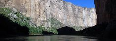 """Santa Elena Canyon in Big Bend National Park, TX. Paddle upstream fr Santa Elena Canyon Trailhead, a few miles into the canyon, and return downstream (""""boomerang"""" trip). If water level is low, you do not have to fight the current much going upstream, making this trip quite leisurely. An ideal trip if you do not have a shuttle back to your starting point.  See Fern Canyon, about two miles upstream. Backcountry permit required. No day-use fee."""