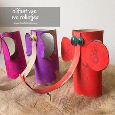 Maak je eigen dierentuin van wc rolletjes. Dit is deel 1: een olifant van een wc rolletje. Makkelijk te maken met dit foto diy stappenplan! Kids Toys, Recycling, Elephant, Upcycle, School, Creative, Projects, Blog, Crafts