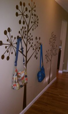 foyer trees Decals with hooks. Stairs And Hallway Ideas, Entry Hallway, Foyer, Entryway, Daughters Room, To My Daughter, Easter Cake Pops, Tree Decals, Girls Bedroom