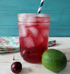 Cherry Lime Soda - A healthy, all natural refreshing soda drink made with all natural cherry juice and sparkling mineral water.