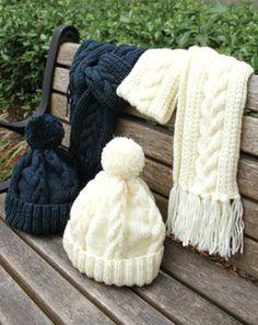 BIG BALL Melangeで編む アラン模様の帽子・アラン模様のマフラー