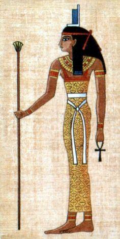 Isis, en egipcio es Ast. Primitivamente fue una diosa-cielo. Llevaba un trono (ast) sobre su cabeza. Reina de los dioses; gran diosa madre; recuperadora y embalsamadora del cuerpo de Osiris. Su morada en los cielos era la estrella Sotis (Sirio) de la constelación de Orión (asociada a Osiris), por lo que también fue conocida como Isis-Sothis. Diosa de la maternidad y del nacimiento y protectora de la familia en general.
